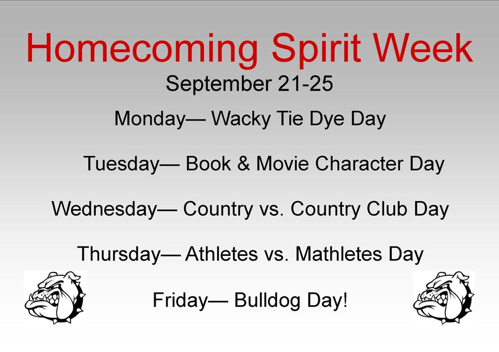 HOMECOMING SPIRIT WEEK SEPT. 21-25
